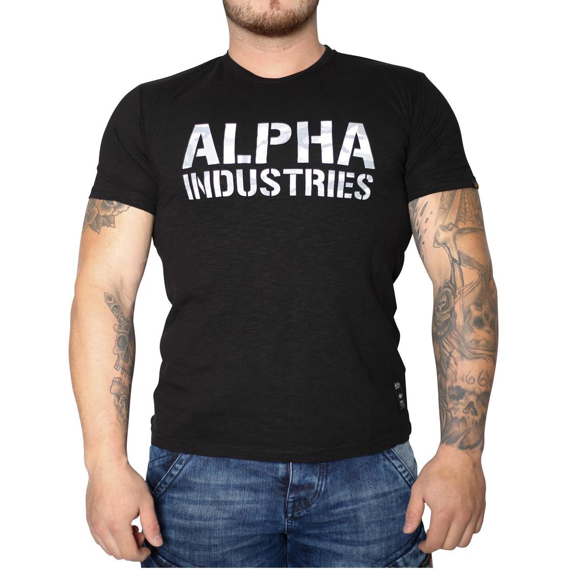 d3e7e09e55eb6d Alpha Industries Camo Print T-Shirt (Schwarz Weiß) - Sportinax